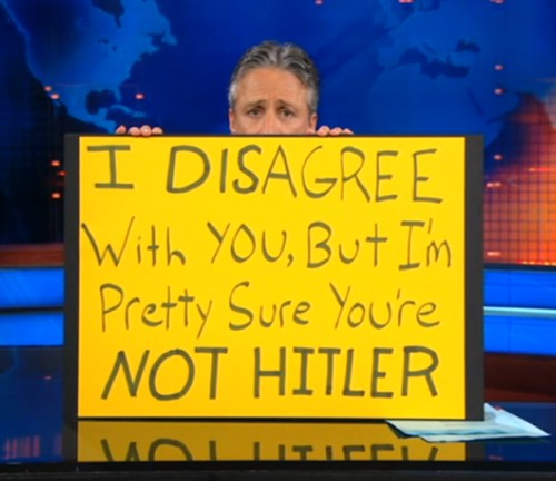 Jon Stewart calls for sanity.